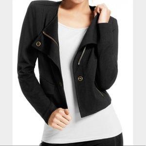 Cabi Black Ponte Moto Knit Jacket Large